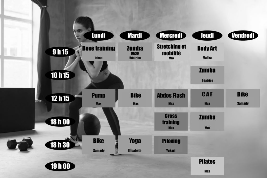 Planning cours fitness passion